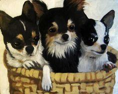 Tres Amigos Chihahua dog animal portrait, painting by artist Linda Apple