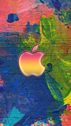 Apple Logo On Easel Paint Strokes iPhone 6 Wallpaper Ipad Mini Wallpaper, Apple Logo Wallpaper Iphone, Phone Wallpaper Images, 4 Wallpaper, Ios Wallpapers, Cellphone Wallpaper, Wallpaper Backgrounds, Colorful Wallpaper, Cool Apple Logo