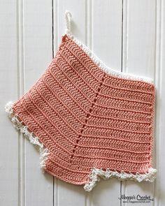 Peach bloomer crochet vintage potholder
