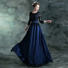 New Sexy O Neck A-Line Navy Blue Beaded Lace Long Evening Dress 2015 With Sleeves Women Formal Dress Party Dress Robe De Soiree
