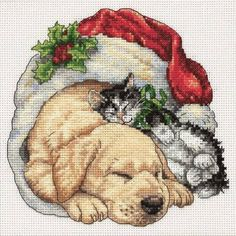 Christmas Morning Pets Cross Stitch Kit £13.95 | Past Impressions | Dimensions