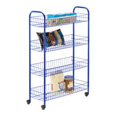 Blue 4-Tier Slim Rolling Cart, not available online, check st. cloud  19.99in MN has to be picked up at edina store