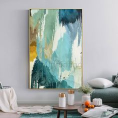 Modern Abstract Painting acrylic green and blue paintings on canvas art Wall Pictures modern framed wall art original painting hand painted Large Framed Wall Art, Frames On Wall, Blue Painting, Acrylic Painting Canvas, Acrylic Wall Art, Green Paintings, Modern Art Paintings, Wall Canvas, Canvas Art