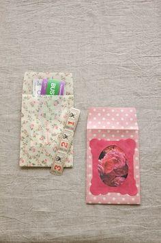 写真やメッセージを入れるフレーム付きの封筒。/布で作る小さな袋とBOX(「はんど&はあと」2012年1月号)
