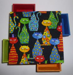 boîte 4 petits tiroirs tissu chat