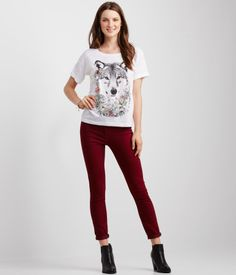 Floral Wolf Boxy Tee Aeropostale