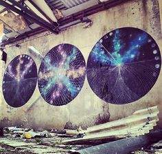 Moneyless & Mark Lyken – view more (cosmic) images @ http://www.juxtapoz.com/Street-Art/moneyless-a-mark-lyken