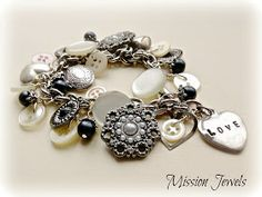 DIY:  Charm Bracelet - vintage bracelet, using buttons and beads as charms. Inspiration. 4/15/13 post.