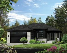 This beautiful bungalow has an undeniable charm with its stone and wood façade and its recessed entrance. The home is 45 feet 10 inches wide by 56 feet deep and provides square feet of living space in addition to a 445 square-foot two-car garage. Cottage Style House Plans, Prairie Style Houses, Cottage Style Homes, Dream House Plans, House Floor Plans, Contemporary Style Homes, Contemporary House Plans, Modern House Plans, Small House Plans