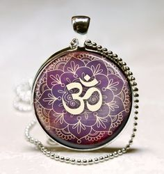 Om Necklace Yoga Jewelry Purple Lotus Flower, Om Symbol, Buddhism, Zen Art Pendant With Ball Chain Included
