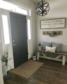 42 Cozy Living Room Farmhouse with Grey Paint Ideas. 42 Cozy Living Room Farmhouse with Grey Paint Ideas. Entryway Paint Colors, Front Entryway Decor, Entryway Lighting, Entryway Rug, Entryway With Bench, Foyer Paint, Rustic Farmhouse Entryway, Room Paint, Entryway Chandelier