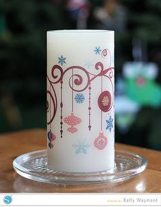 Decorative candle with Silhouette tattoo paper. #silhouettedesignteam