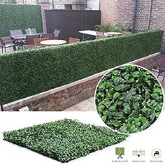 Faux Boxwood Hedge Privacy Fence Screen Greenery Panels Indoor/Outdoor Privacy Fence Screen Greenery Mat 12pcs 50x50cm