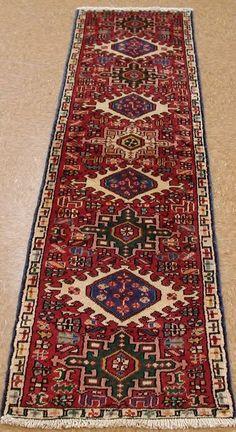 2 X 8 PERSIAN KARAJEH TRIBAL Hand Knotted Wool RUST IVORY Oriental Rug  RUNNERu2026