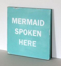 "Mermaid sign beach sign beach decor by SevenSimonLaneBeach on Etsy, $39.00 12"" x 12"" , 3/4"" thick sign is hand painted (no vinyl) and lovingly distressed. Key hole is cut in back for easy wall hanging. Sign is shown in aqua and is available in the following colors:  beach, off white, dark charcoal, pink, blue, gray, yellow, white, deep sea blue, aqua."