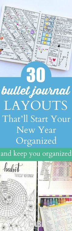 Bullet Journal Spreads That'll Start Your New Year Organized and Keep You Organized These bullet journal ideas are THE BEST! I'm so happy I found these GREAT bullet journal tips! Now I have some great bullet journal hacks that I can use! Bullet Journal Spreads, Bullet Journal How To Start A, Bullet Journal Inspo, Bullet Journal Layout, Bujo, Journal Prompts, Journal Pages, Art Journals, Custom Journals