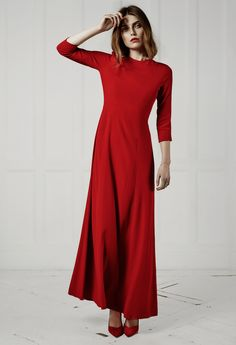 Red maxi dress with a cut out back - the perfect choice for festive occasions