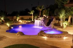 Stunning swimming pool and landscape waterfalls, outdoor lighting, landscaping, hot tubs and patios Pool Spa, My Pool, Outdoor Swimming Pool, Jacuzzi, Pool House Designs, Swimming Pool Designs, Custom Pools, Dream Pools, Beautiful Pools