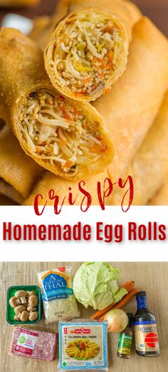 These homemade Egg Rolls are crisp on the outside with satisfying pork and healthy vegetable filling. Learn the secrets to an ultra-crisp shell. Watch the video recipe and learn how to make easy Chinese egg rolls that are better than takeout! This quick dinner idea is a meal the whole family will love. Thankfully this recipe makes a big batch so you can freeze a bunch for later, making this a make-ahead and freezer-friendly recipe. #eggrolls #takeout #chinesefood #asianfood #easyeggrolls… Grilled Chicken Recipes, Easy Chicken Recipes, Asian Recipes, Crockpot Recipes, Ethnic Recipes, Easy Egg Roll Recipe, Egg Roll Recipes, Spring Roll Pastry, Chinese Egg Rolls