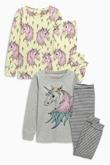 Buy Yellow/Grey Unicorn Print Snuggle Pyjamas Two Pack from the Next UK online shop Beds Uk, Bedding Inspiration, Ross Store, Unicorn Print, Girls Pajamas, Pyjamas, Snuggles, Nightwear, Comfy