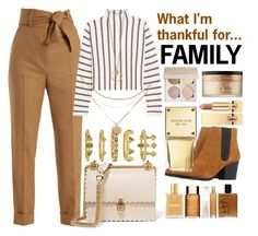 """""""What I'm thankful for...FAMILY"""" by nothing-better-than-a-riddle ❤ liked on Polyvore featuring Sara Battaglia, Maje, Fendi, Bruno Premi, Luv Aj, Too Faced Cosmetics, Michael Kors and Yves Saint Laurent"""