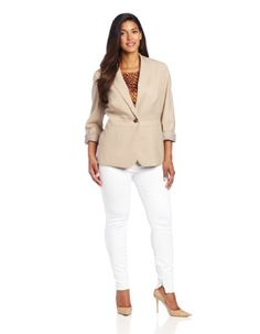 Jones New York Women's Notch Collar Jacket With Triple Waist