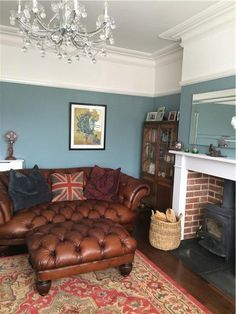An inspirational image from Farrow and Ball - Oval Room Blue again - perhaps a little too blue. Living Room Designs, Living Room Leather, Leather Living Room Furniture, Blue Walls Living Room, Oval Room Blue, House Interior, Teal Walls Living Room, Brown Walls Living Room, Victorian Living Room
