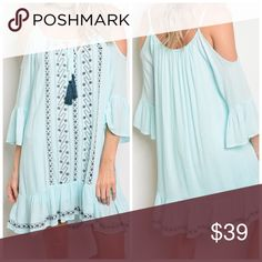 Mint fully lined cold shoulder dress Scoop Yolk Tie Neckline Cold Shoulder 3/4 Sleeve Tunic Dress. In pretty mint with contrast detail. Fully lined - loose fit - Fabric 100% Rayon with poly lining- currently out of stock last dresses here Dresses