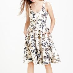 J Crew dress New with tag. Linen zip-front dress in gold foil leaf. J. Crew Dresses