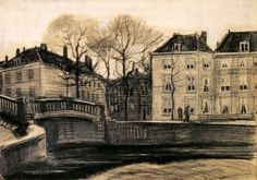 Vincent van Gogh ~ Bridge and Houses on the Corner of Herengracht-Prinsessegracht, The Hague 1882