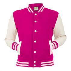 Caliente rosa Varsity chaqueta eléctrica Letterman capa béisbol... ($27) ❤ liked on Polyvore featuring mens baseball jackets, mens letterman jacket, mens varsity jacket, mens varsity bomber jacket and men's outerwear