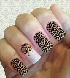 Unhas Decoradas Laços 2018: Fotos, Passo a Passo, Tendências; 'Uma mais linda que a outra' Short Nail Designs, Toe Nail Designs, Acrylic Nail Designs, Leopard Print Nails, Trendy Nail Art, Cute Acrylic Nails, Nail Shop, Toe Nails, How To Do Nails