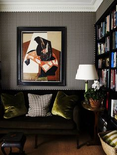 gingham check checkered fabric covered walls in a living room