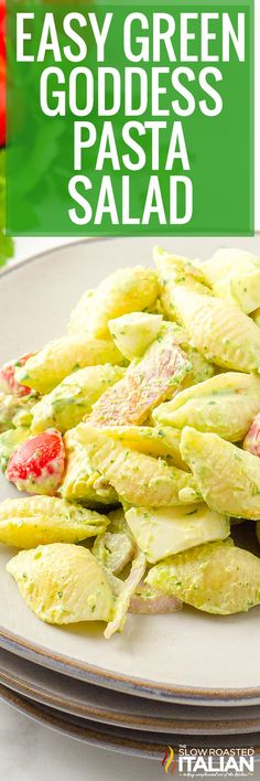Green goddess pasta salad has all the flavor of the popular dish, but with noodles instead of lettuce! Serve it at your next luncheon or potluck. #GreenGoddessPastaSalad #PastaSalad #SummerSide
