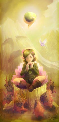 Este es un fanart de uno de mis juegos favoritos Zelda ocarina del tiempo, ella es Saria. Este dibujo fue hecho totalmente en digital, use IlustStudio.