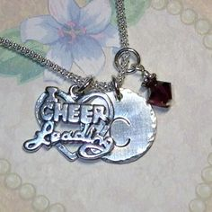 I Love Cheerleading Initial Charm Dangle Necklace by DolphinMoonCreations, $34.00