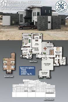 Architectural Designs Exclusive Home Plan gives you 3 bedrooms, 4 baths.Architectural Designs Exclusive Home Plan gives you 3 bedrooms, 4 baths and sq. Contemporary House Plans, Modern House Plans, House Floor Plans, Contemporary Style, Modern Floor Plans, Exterior Tradicional, Stucco Exterior, Sims House, House Layouts