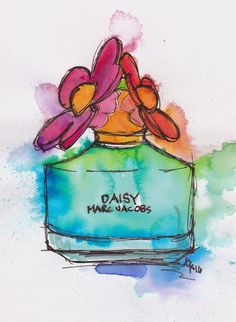 Tracey Fletcher King... Daisy perfume bottle illustration ... watercolour and ink