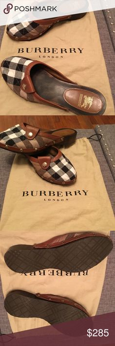Burberry shoes new New comes with dust bag tan plaid clogs gold hardware. A beautiful shoe 👠 Burberry Shoes