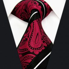 Paisley strepen zwart rood wit heren banden stropdas 100 % zijde geweven jacquard bruiloft mannen stropdassen voor mannen casual kleding merk mannen stropdas