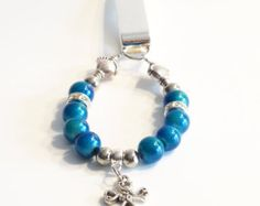 Women's Beaded Bookmark AQUA with Cross Charm by dunglebees. Explore more products on http://dunglebees.etsy.com