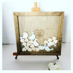 Wedding Guest Book With 50 Mixed Size Hearts And Birds Personalised Drop Top Frame Alternative Heart