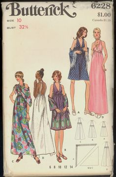 Uncut 1970s Halter Top Dress Gown Shawl by VintagePatternsCo1