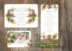 PRINTABLE PROTEA BOUQUET WEDDING STATIONARY SUITE.  This is for PRINTABLE files. No physical card will be sent. This file can either be sent to a printing shop for printing or be printed at home. This is for PERSONAL USE only and cannot be resold in any way.   After ordering download the PSD file. You will need Photoshop to edit the wording.   Size 5x7 landscape Invitation  Size 5x7 landscape Thank you/RSVP/Reception card  Size 4 x 8 DL Menu card/Table numbers Should you need help changing…