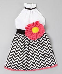 Black & Fuchsia Chevron Halter Dress - Infant, Toddler & Girls #zulily #zulilyfinds