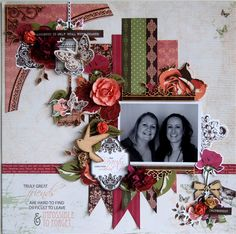 Kaisercraft Materials Used: Violette Chanelle Georgie Girl Paper Blooms – Coral and Cranberry Mini Paper Blooms – Coral and Honey Wooden Flourishes – Borders Flying Birds Bows and Flourishes Corners Scrapbook Blog, Scrapbooking Layouts, Scrapbook Pages, Flourish Border, White Pen, Bloom, Rose, Lady, Friendship