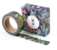 Dark Blue Blooms Japanese Washi Tape Masking Tape by Callicrafty