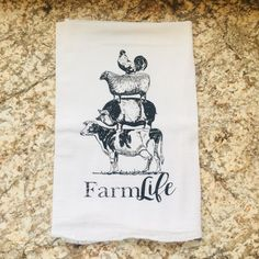Tea Towel Farmlife Stacked Cow Pig Sheep Chicken Rooter WHOLESALE Home Decor Dish Towels farmhouse style by VintageMarketEugene on Etsy | wholesale tea towels # Dish Towels, Hand Towels, Tea Towels, Wholesale Tea, Wholesale Home Decor, Sheep Pig, Best Friends Funny, Christmas Towels, Bee Gifts