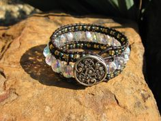Leather cuff bracelet  'ICE'    champagne and by fleurdesignz, $34.00