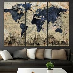 Large abstract art on canvas world map wall art Old world map canvas print rustic world map 3 panel wall art stretched wood - decorationroommen Wood World Map, World Map Decor, World Map Canvas, World Map Wall Art, Home Wall Art, Wall Art Decor, Room Decor, Canvas Art Prints, Canvas Wall Art